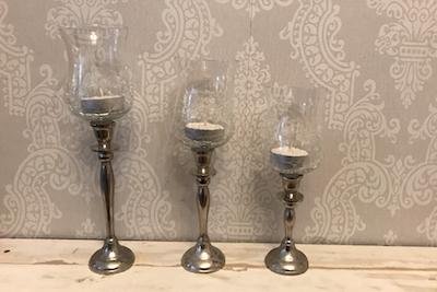Kerzenständer set aus glas stk silber cm